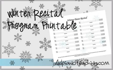 Christmas Recital Program Free Printable 4dpianoteaching Com Winter Program Template
