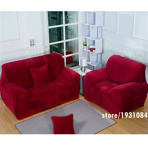 red couch cover wine red sofa cover plus velvet fabric elastic slipcover