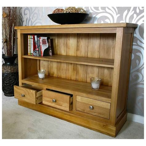Small Low Bookcase 50 Small Low Solid Oak Bookcase With Drawers Glenmore
