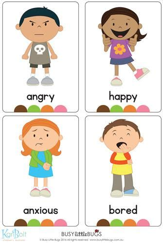 printable feelings flashcards for toddlers emotions full body flash cards busy little bugs