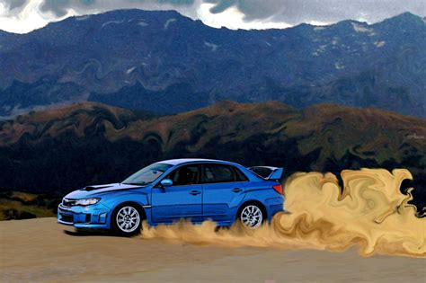 subaru wrx drift car digital art computer art by erin carr fine art