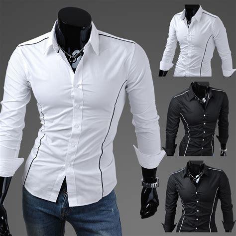 new designer colour luxury mens slim fit casual tops