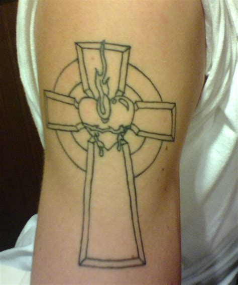 cross with a heart tattoo catholic cross with sacred by mrkozak on