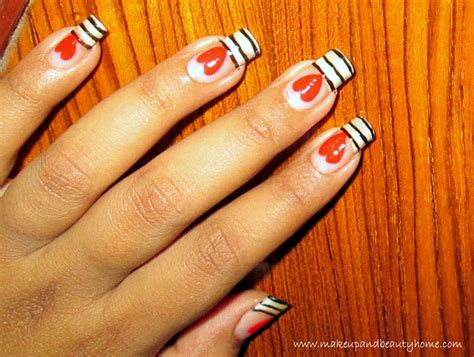 easy nail art to do yourself easy stripes and heart nail art tutorial do it yourself
