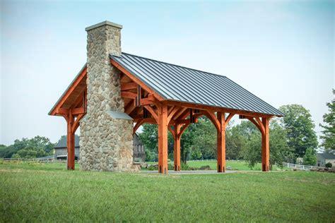 timber frame pavilion  hammer beam truss  granby