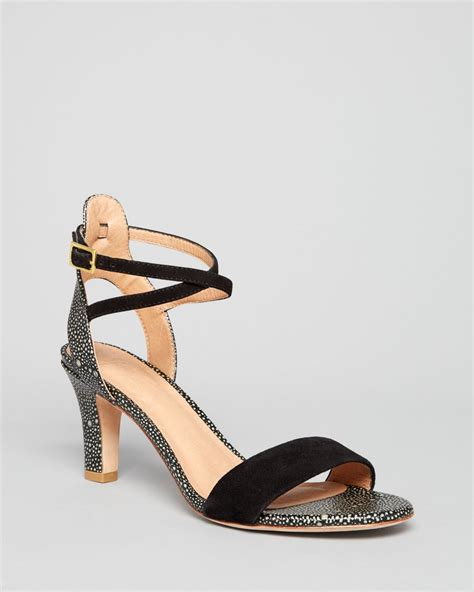 black sandals with ankle joie open toe ankle sandals edeline in black lyst