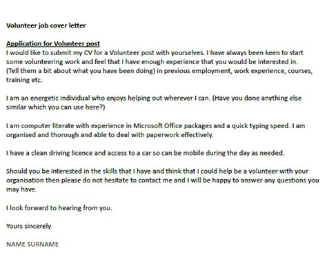 cover letter for volunteer position volunteer cover letter exle icover org uk