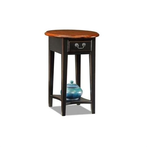 leick furniture oval end table in slate black 9042 sl