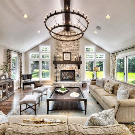 great room interior design living room traditional with stone fireplace white wall shelves