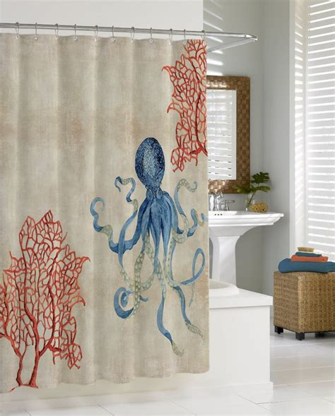 coral and blue shower curtain indigo ocean parchment red fan coral blue octopus shower