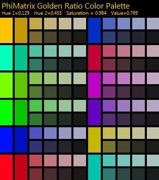 phimatrix golden ratio color palette generator
