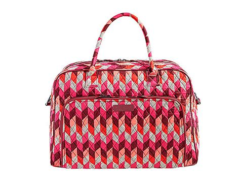 Fossil Chevron Nwt vera bradley nwt weekender large travel tote bag bohemian chevron pink wine chronoarc