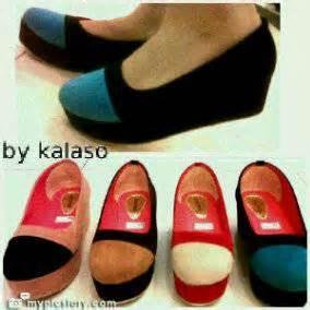 Wedges Wanita Motif Pita Hitam dinomarket 174 pasardino macam macam sepatu cantik wanita