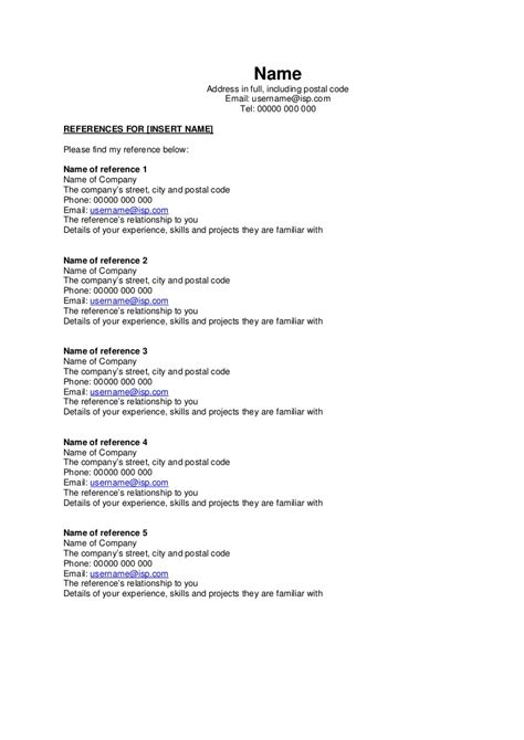 resume reference page reference page format resume with references