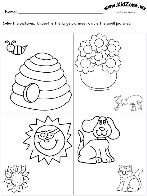 worksheets for big and small homeshealth info