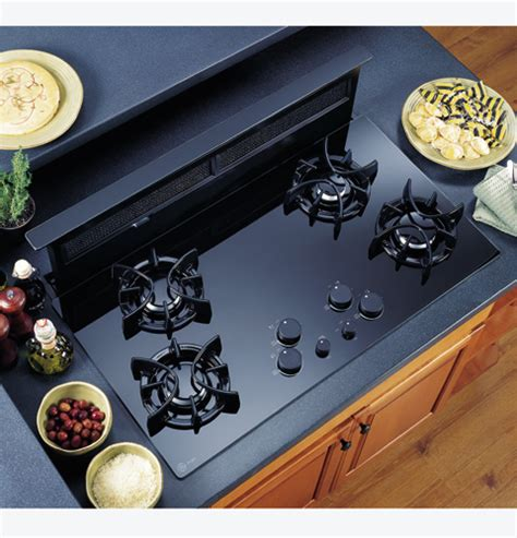 ge gas cooktop with downdraft ge profile 36 quot downdraft gas cooktop jgp656bbbb ge