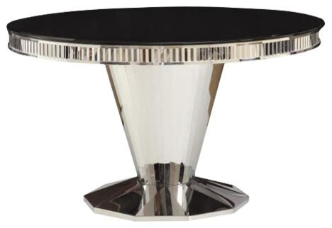 intrigue transitional round glass top table chairs barzini round dining table with tempered black glass top