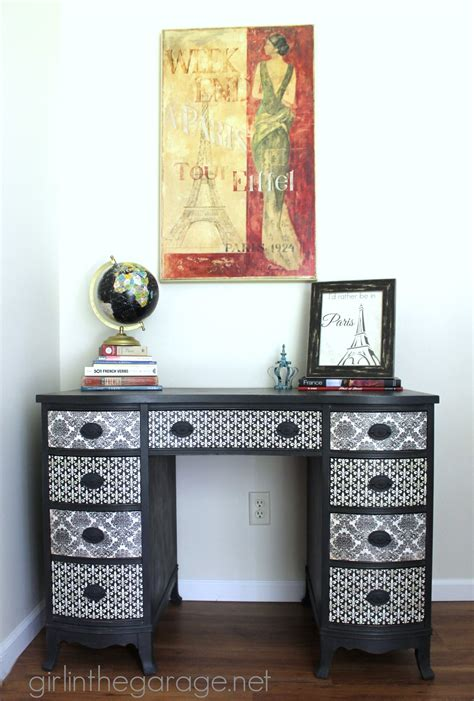 contact paper desk makeover decoupage desk themed furniture makeover day