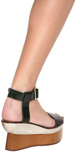 Wedges Sendal Marni Mirror Quality marni 85mm calfskin mirror plaque wedges in black lyst