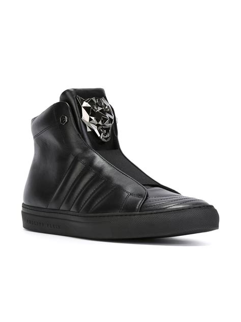 Philipp Plein Sneakers lyst philipp plein hi top leather sneakers in black for