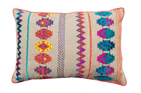 Colorful Pillows by Colorful Bohemian Style Linen Pillow Cover Embroidered