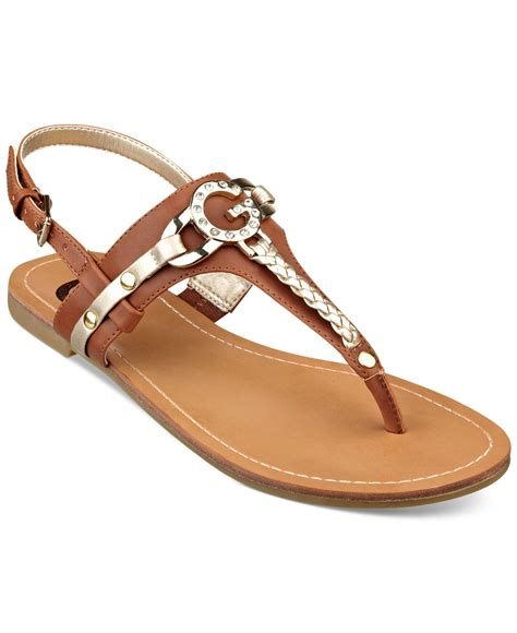 guess flat sandals g by guess s leed flat sandals in brown lyst