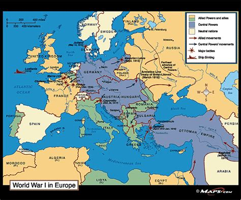 world war 1 map cities world war i in europe map 1914 1918 by maps from maps