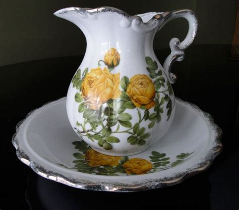 Flower Pitcher Set vintage pitcher set plate wash basin decor 1950s 1960s