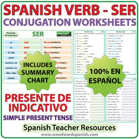 ser spanish verb conjugation worksheets present tense