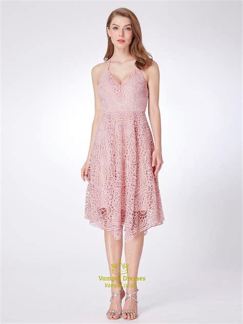 Halter Sleeveless Lace Dress a line pink halter neck sleeveless lace prom dress