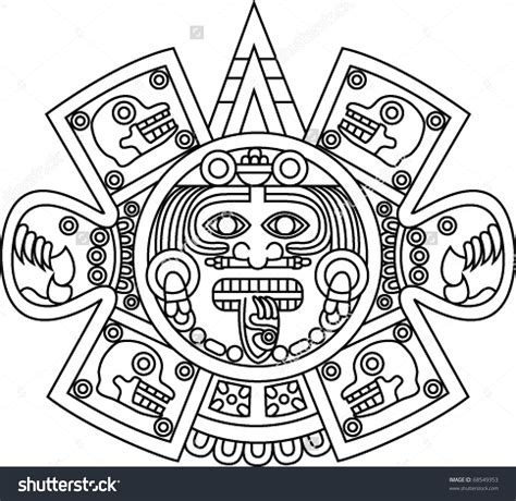 aztec clipart aztec sun pencil and in color aztec
