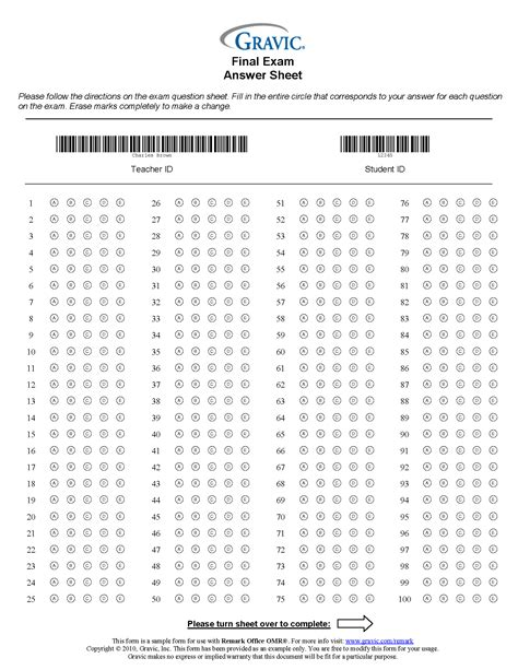 answer template 200 question answer sheet with credit and barcode