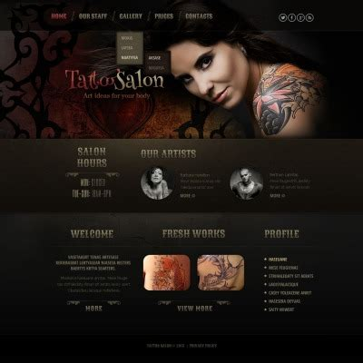 free tattoo design websites salon templates templatemonster