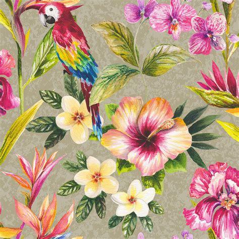 tropical parrot floral birds metallic effect wallpaper