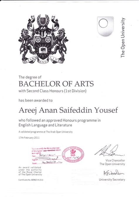open graduation certificate