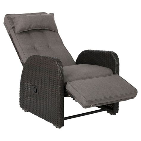christopher wicker recliner ostia wicker outdoor recliner with cushion brown