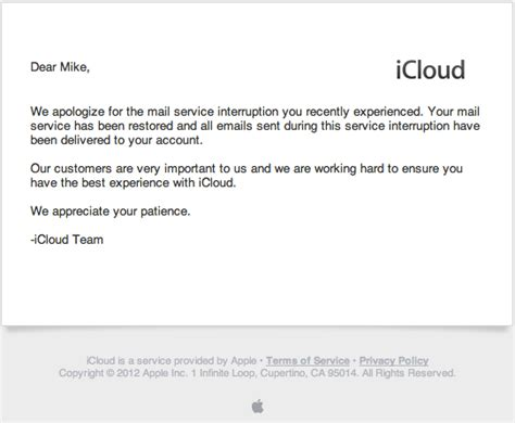 Apology Letter To Client For Sending Wrong Email Apple Sends Emailed Apologies For Icloud Outage Mac Rumors