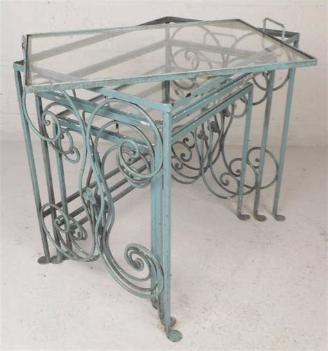 amazing mid century modern sculpted wrought iron patio set