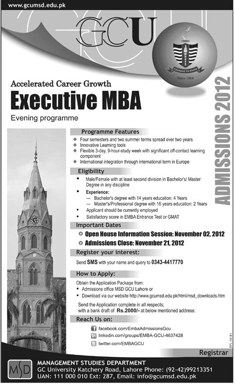 Mba Entrance Pattern by Gc Announced Admission In Executive Mba Program