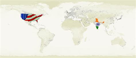 map usa to india flags of united states and india on the world