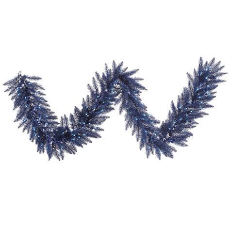 navy blue prelit garland