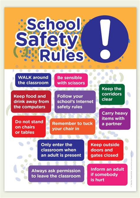 classroom layout health and safety a bright a4 poster with school and classroom safety rules