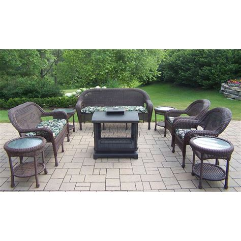Oakland Living Resin Wicker 9 Pc Seating Set With 360 Resin Patio Furniture Sets
