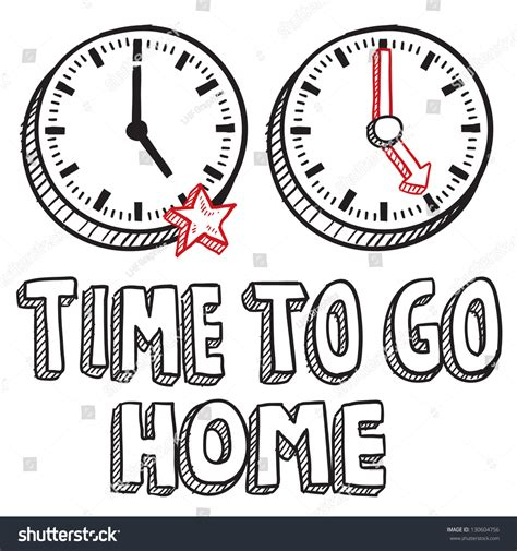 doodle time doodle style time go home illustration stock vector