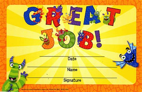 great job certificates smileyme sells great job monster certificate