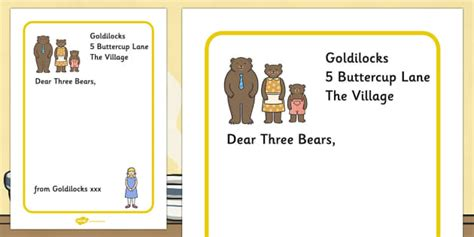Apology Letter In Kiswahili goldilocks to the three bears letter writing frames