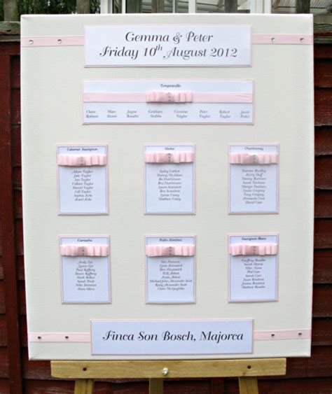 wedding table seating plan pink satin carol miller designs wedding stationery showcase