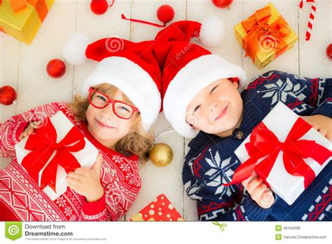 images of childrens christmas decorations portrait of happy children with decorations stock image image of ornament indoors