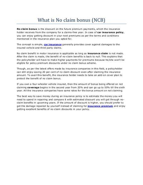 What is no claim bonus (ncb) in car insurance