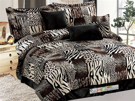 leopard queen comforter set 7 pc faux fur zebra tiger leopard jaguar cheetah comforter